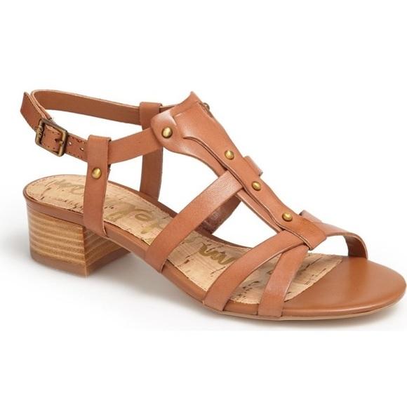 9f600cbf3f6a7 Sam Edelman Angela Brown Leather Strappy Sandals